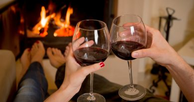 close up of young couple drinking wine in front of an open wood fire.