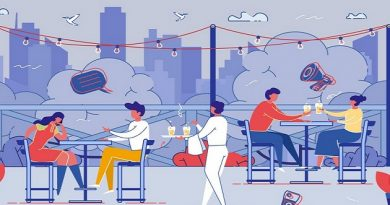 Happy Relaxed People Sitting at Tables at Outdoor Cafe at Summer Time, Drinking Beverages Talking on Cityscape View Background. Men and Women Characters Relaxing. Cartoon Flat Vector Illustration