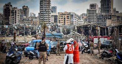 A view of the port after the explosion on August 4, 2020 in Beirut, Lebanon. According to the Lebanese Red Cross, at the moment over 100 people died in the explosion and over 4,000 were injured in explosion at Beirut Port. Officials said a waterfront warehouse storing explosive materials, reportedly 2,700 tons of ammonium nitrate, was the cause of the blast.(Photo by Fadel Itani/NurPhoto via Getty Images)